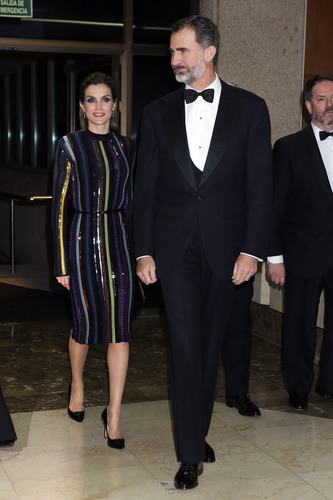 "Spanish Kings Felipe VI and Letizia during the "" ABC Awards : Mariano de Cavia, Luca de Tena and Mingote 2016 "" in Madrid on Tuesday 13 December 2016."