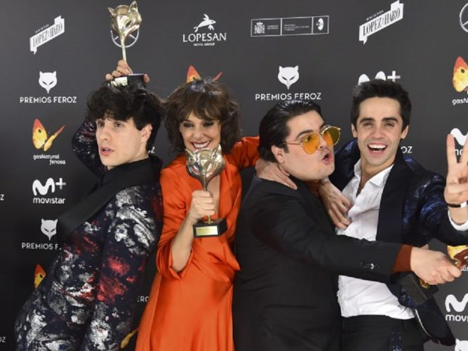 Actors Brays Efe , Belen Cuesta , Javier Ambrossi and Javier Calvo during the awards Feroz in Madrid Monday, Jan. 23, 2017