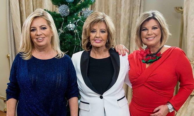Carmen Borrego, Terelu Campos y María Teresa Campos en Navidad de 2018