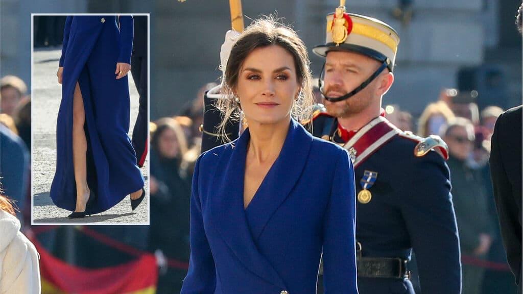 letizia vestido azul blazer como el rosa las fuerzas armadas