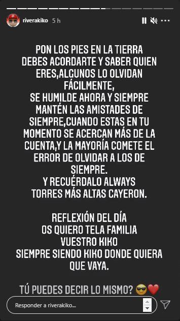 Kiko Rivera mensaje incendiario