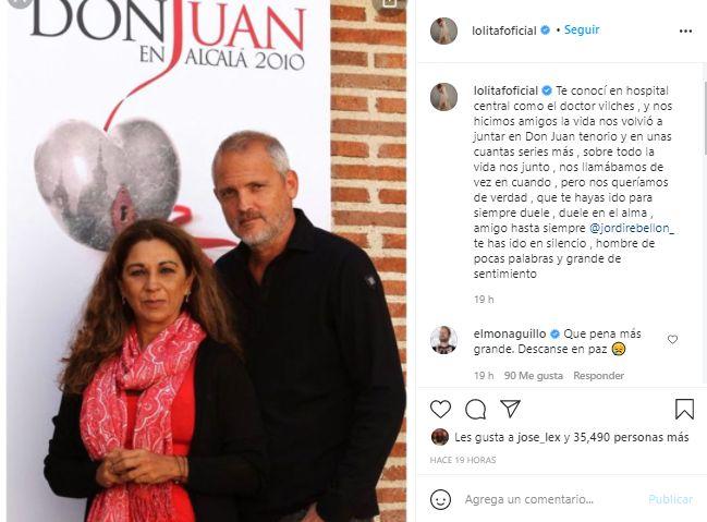 Captura Instagram Lolita se despide de Jordi Rebellón