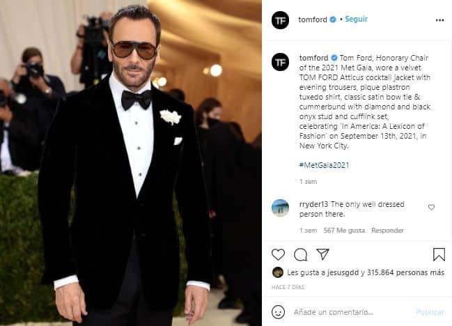 Tom Ford captura instagram